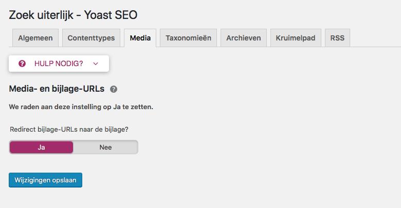 Instellling attachment URLs op ja