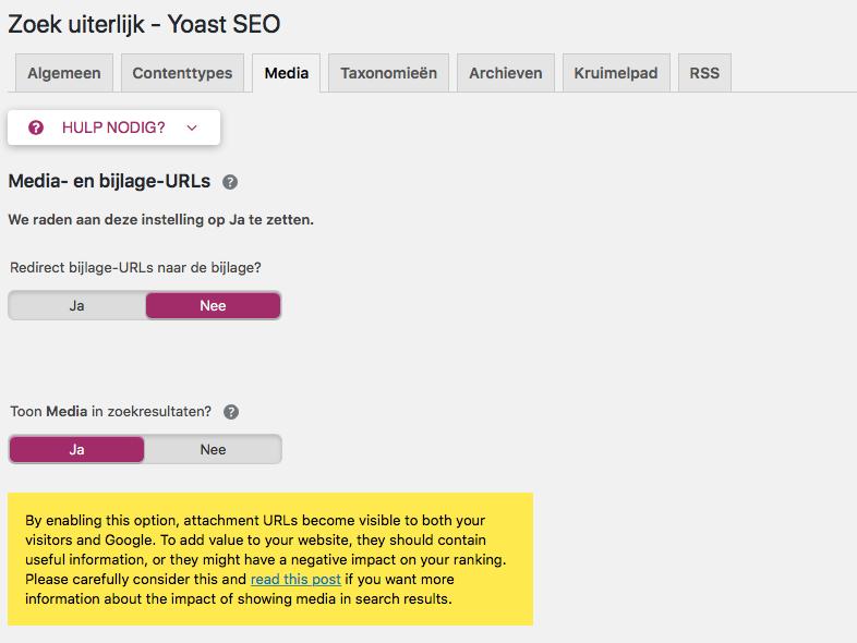 Instellling attachment URLs op nee